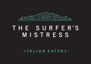 logo of the surfer's mistress italian eatery. Black background with white lettering and a green stylistic rendering of Kapiti Island.